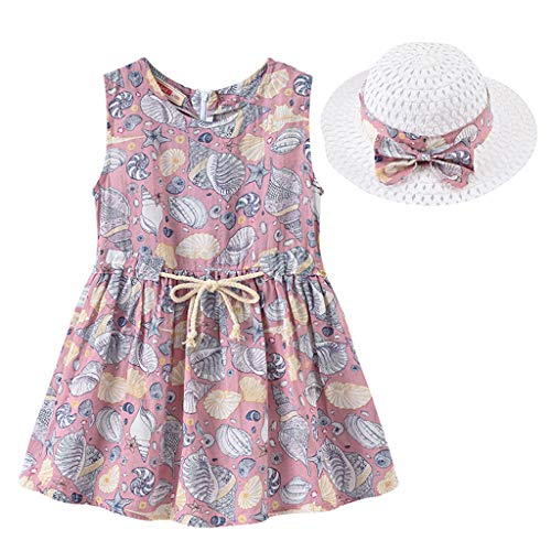 IMJONO Style de Vacances Fille Robe sans Manches Robe à Fleurs bébé Fille + Chapeau de Paille Ensemble de vêtements pour 2020 Tenue d'été pour Enfants 2-7 Ans (Violet,4-5 Ans