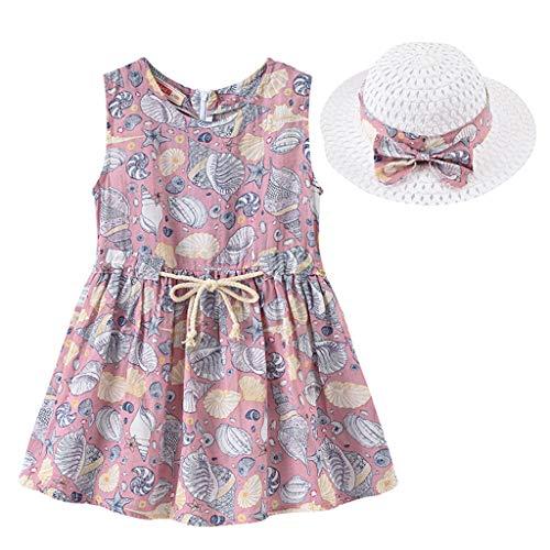 JERFER Baby Kinder Mädchen Blumen Blumen Strand Kleid Prinzessin Kleider Hut Outfits