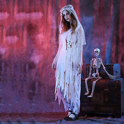 ZEIYUQI Halloween Kleider Für Frauen, Frauen Vintage Skeleton Cosplay Kostüme Halloween Scary Long Dress Zombie Brautkleid Halloween Kleider,White-XL