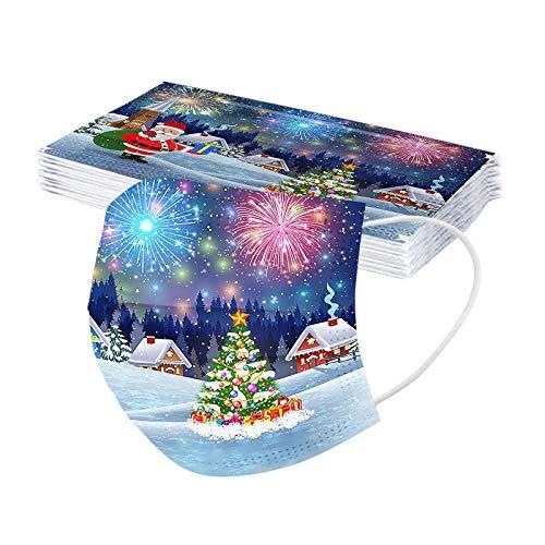 Lomelomme Weihnachten Erwachsene Einweg Mundschutz Bunt Festival Print Mund und Nasenschutz Mode Atmungsaktive Staubdichte Halstuch Bandana 10pc