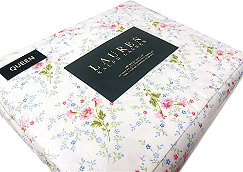 Ralph Lauren 4 Piece Queen Sheet Set Pink Blue Green Floral White French Country Style