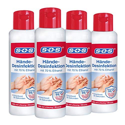 SOS Hände-Desinfektion, Desinfektionsmittel aus 70{bf763a15eca6fe103419d73f8c688fe9cdce19fa0e18ade3d4b6ca1d5129789d} Ethanol für die Hände, Handdesinfektion zur zuverlässigen Beseitigung von Viren, Bakterien und Pilzen von den Händen, 4 x 100 ml