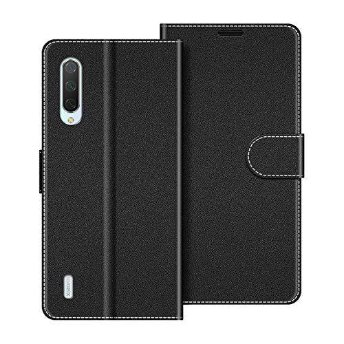 COODIO Handyhülle für Xiaomi Mi 9 Lite Handy Hülle, Xiaomi Mi 9 Lite Hülle Leder Handytasche für Xiaomi Mi 9 Lite Klapphülle Tasche, Schwarz