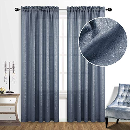 Blue Curtains 84 Inch Length for Living Room 2 Panels Set Semi Sheer Window Rod Pocket Modern Beautiful Chic Glitter Design Sparkle Shimmer Curtains for Bedroom Dark Denim Navy Dusty Blue and Silver