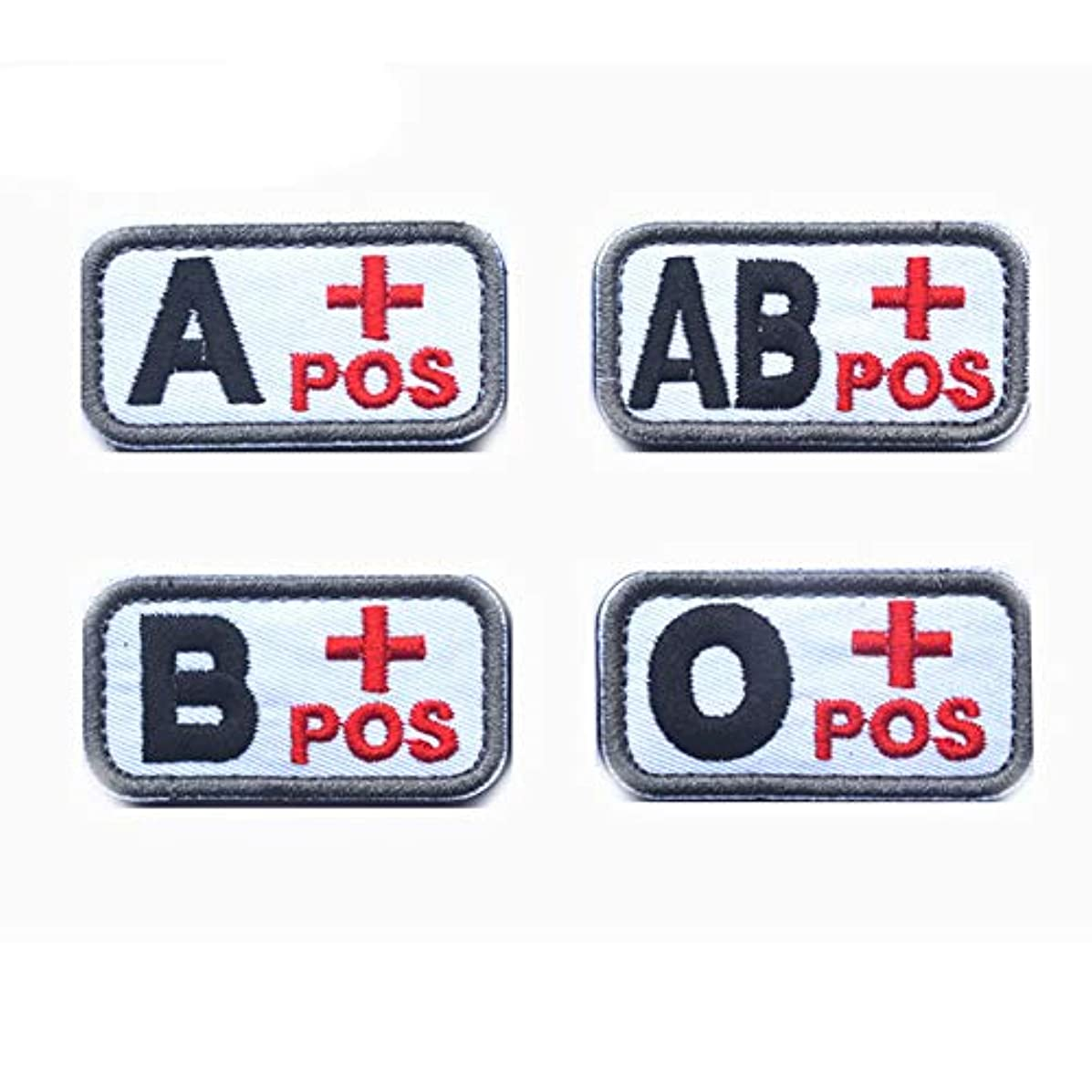 SOUTHYU 4 Pack Tactical Blood Type Patches Embroidered A+ B+ AB+ O+ Positive POS Hook and Loop Morale Patch Badge for Outdoor Military Army Gear, Operator Cap