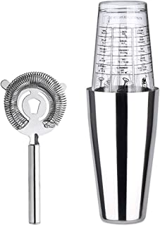 3 Pieces of Bartender Kit including Shaker 2 Tins Set, 750ml Stainless Tin 550ml Glass Tin and Strainer