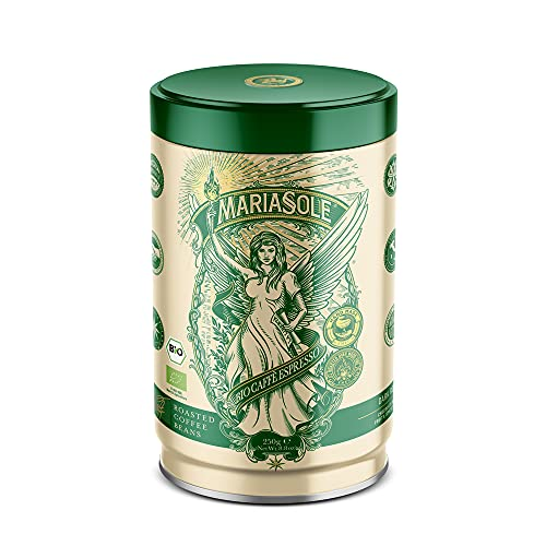 Mariasole Caffè Espresso Bio 250g in hochwertiger Dose - NEUES DESIGN GLEICHER GESCHMACK - Traditionelle Röstung über Holzfeuer In Handarbeit - Premium Bio Kaffeebohnen für Vollautomat und Siebträger