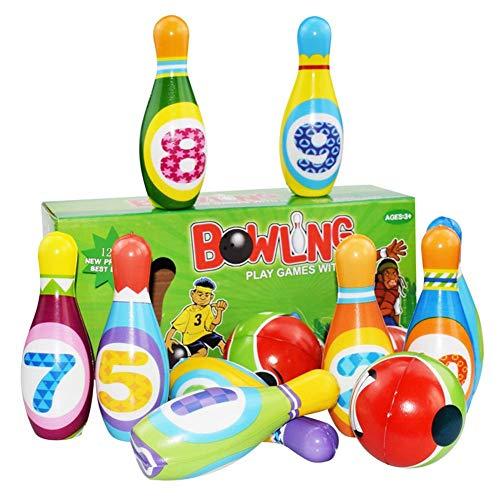Kinder Bowling Set Kegelspiel mit 10 Kegel und 2 Bällen, Kegelspiel für Kinder, Drinnen Draußen Spielzeug Geschenke Spiele ab 3 Jahren Junge Mädchen