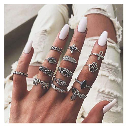 Yean Conjunto de anillos de diamantes de imitación estilo bohemio vintage con flores plateadas, anillos apilables para mujeres y niñas (14 piezas)