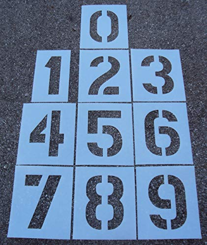 12' Parking Lot Number Stencils Kit - 12 Inch - 60 Mil - (1/16' Thick) 12' Number Parking Lot Stencils