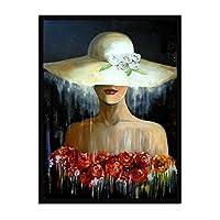 キャンバス印刷、リビングルーム、廊下、フレームレスのためのビーチハットオイル塗装の壁アートの装飾ポスターの絵を着て美しいバラの女性,60×80cm