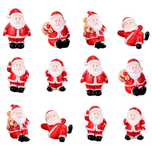 MeiLiu Statuine Natalizie in Miniatura, Mini Babbo Natale Artigianato Resina Statuette da Tavolo Ornamento, Case Giardino Decorazione Albero di Natale, Giocattoli Regalo di Natale per Bambini
