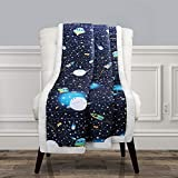"Lush Decor, Navy Universe Sherpa Throw-Outer Space Stars Galaxy Planet Rocket Pattern Reversible Blanket-60"" x 50, 60' x 50'"