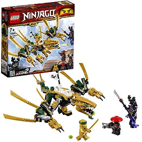 Questo giocattolo LEGO NINJAGO Legacy include 3 minifigure: il Ninja d'Oro Lloyd, l'Overlord e lo Scout dell'Esercito di Pietra Il giocattolo ninja del Dragone d'Oro è dotato di sella per minifigure, bocca apribile con shooter nascosto e ali, zampe e...