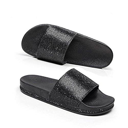 ypyrhh Zapatilla de Plataforma con cuña para Mujer,Cremallera de Diamante, Sandalias de soplado para Interiores y Exteriores-Negro_36,Zapatillas de Estar por Casa de Mujer/Hombre