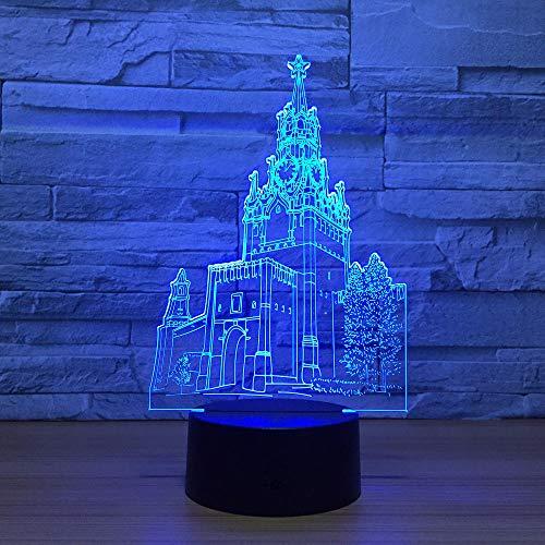 Lámpara de ilusión 3D Luz de noche LED El edificio de la torre del reloj 7 colores Visual para niños Lámpara de mesa táctil USB Ara E Transporte, Niño niña Cumpleaños Regalo de Navidad, Muebles para