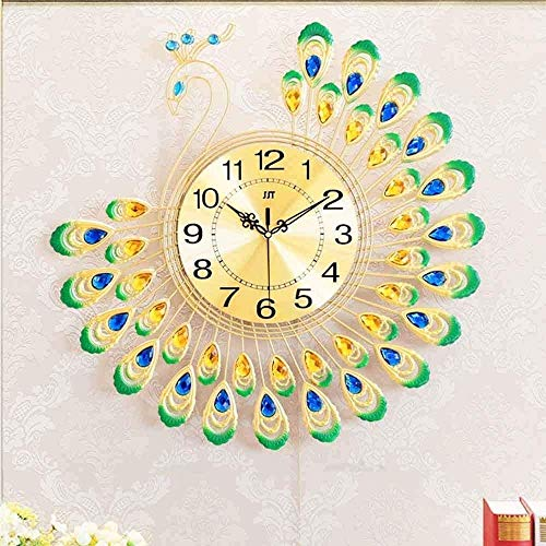 FGDSA Reloj de Pared Peacock Lounge Atmosphere Reloj Creativo Europeo doméstico Reloj de Pared Decorativo electrónico silencioso Caja Grande de Cuarzo, C