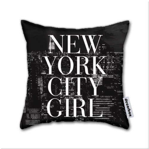 Decorbox Cotton Linen Throw Pillow New York City Girl Black & White Skyline Vogue Typography Cotton Linen Square Decorative Throw Pillow Case Cushion Cover (16x16)