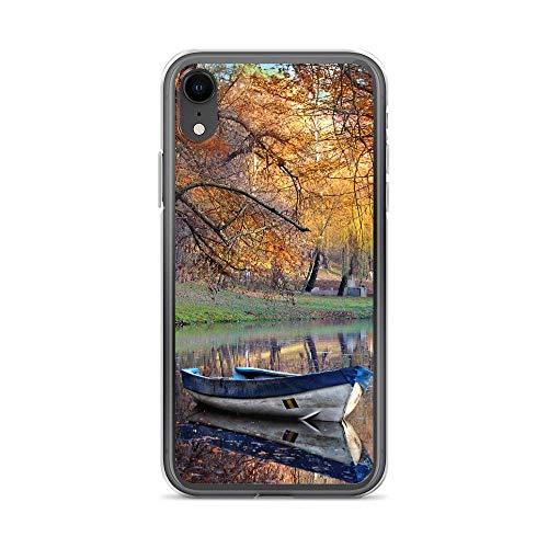 Handyhülle Wasserfall Berg kompatibel für Samsung Galaxy A6 2018 See Holzboot Schutz Hülle Case Bumper transparent rund um Schutz Cartoon M1