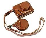 Zakao - Funda para cámara Fujifilm Fuji X100F (piel sintética, apertura inferior, con correa para el hombro y mini bolsa (marrón)