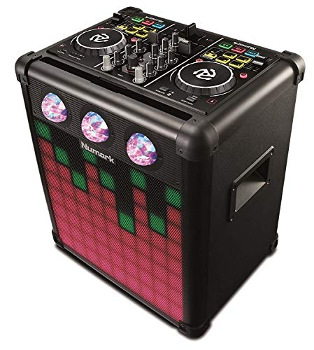Numark Party Mix Pro - DJ Controller con Altoparlanti Integrati con Luci Sincronizzate, Portatile Ricaricabile con Autonomia Estesa e Connettività Bluetooth, Include Software Dj per Mac / Pc / Ios
