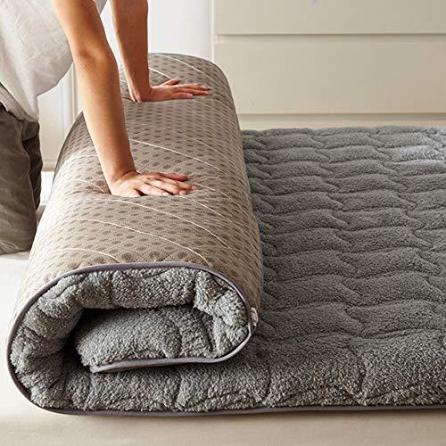 Futón Japonés Tatami, Paño Premium Colchón Plegable, Extra-Suave Transpirable Acolchado Dormir Colchones para Dormitorio Estudiantil-Gris Gemelo