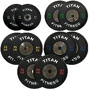 Titan Fitness Elite Olympic Bumper Plates | Black | 340 LB Set