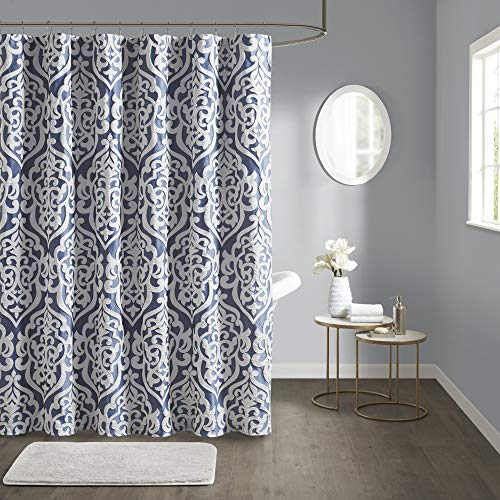 """Madison Park Odette Fabric Shower Curtain Luxe Textured Jacquard, Damask Medallion Machine Washable Modern Home Bathroom Decor, Bathtub Privacy Screen, 72"""" x 72"""", Navy/Silver"""