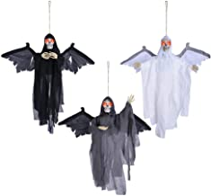AW Animated Scary Hanging Ghosts Sound Sensor Haunted Halloween Prop Flying Skull Red Flashing Eyes Pack of 3