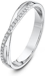 Theia 9 克拉白金十字架镶嵌 0.1 克拉钻石 3 毫米半永恒戒指