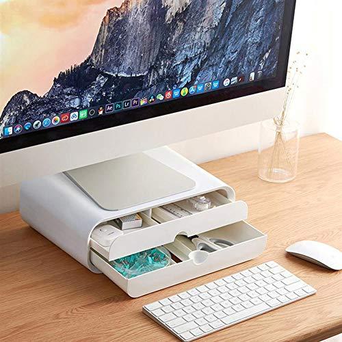 Soporte Vertical para Monitor, Organizador Escritorio para Computadora con Cajón, Impresora Multimedia para Computadora Portátil, Pantalla TV para Oficina En Casa