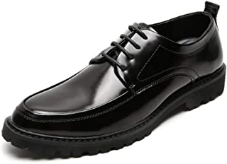 PengCheng Pang Vegan Oxfords for Men Business Shoes Lace up Patent Leather Round Toe Flat Block Heel Solid Color Stitching Antislip (Color : Black, Size : 8 UK)