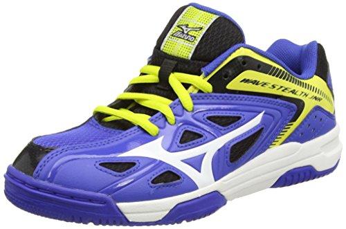 Mizuno Jungen Jr Wave Stealth 3 Handballschuhe, Blau (Blue/White/Bolt), 34.5 EU