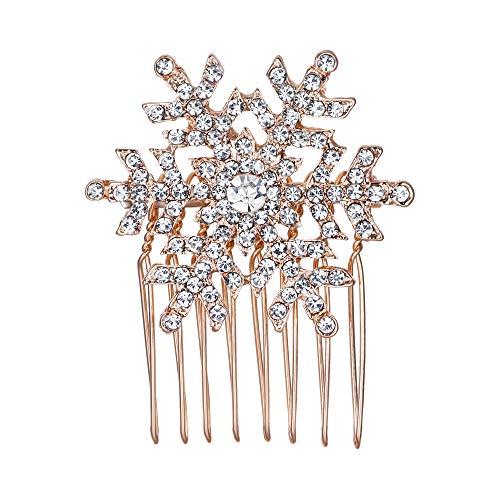 EVER FAITH® Damen Haarkamm österreichischen Kristall Braut elegant Winter Schneeflocke Blume Haarschmuck klar Rosagold-Ton