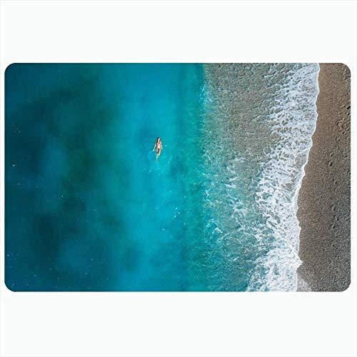 LIS HOME Indoor Bad Teppich für Badezimmer rutschfeste Matten Sommer Luftaufnahme Schwimmen Mittelmeer über Welle Natur Sport Freizeit Design Drohne Türkei Bad Dusche Fußmatte Gummimatte