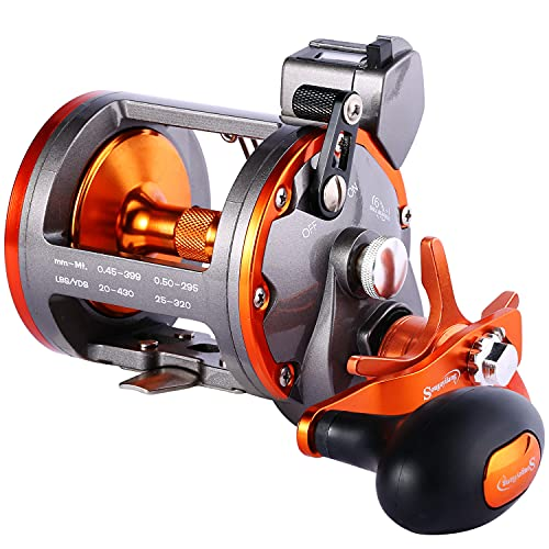 Sougayilang Line Counter Trolling Reel Conventional Level Wind Fishing Reel-Thunder LS II 3000R-Right Handed