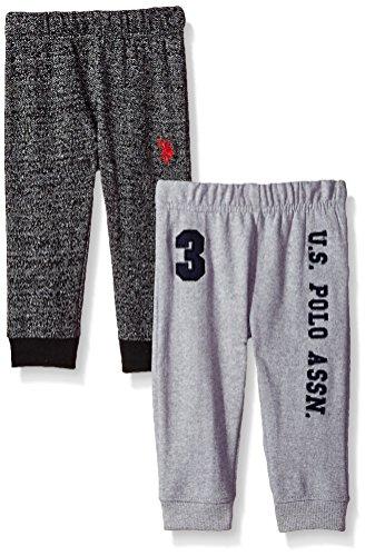 U.S. Polo Assn. Baby Boys' 2 Pack Fleece Jogger Pant, Charcoal/Black, 6/9 Months