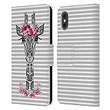 Head Case Designs Licenza Ufficiale Monika Strigel Grigio Fiori Giraffe E Strisce Cover in Pelle a Portafoglio Compatibile con Apple iPhone X/iPhone XS