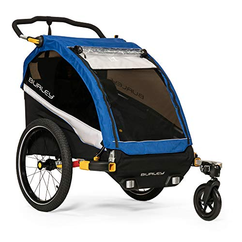 Burley Design D'Lite 1 and 2 Seat Kids Bike Trailer & Stroller with Seat Recline and Suspension, Old School Blue