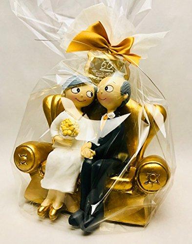 Figura pastel bodas de diamante 60 aniversario GRABADA muñecos PERSONALIZADOS para tarta o regalo