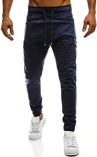 Luguojun ロングパンツ メンズ ファッション パーソナリティ カジュアル ソリッド マルチ ポケット スポーツ ズボン チノパン スキニーパンツ 大きいサイズ 綿 美脚 スリム ジム パンツ ジョギング ランニング ゴルフ 運動 トラックスーツ 春夏