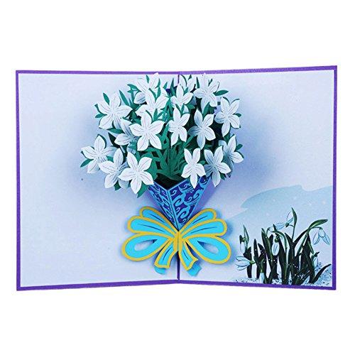 Fleur de 3d Pop Up Carte de voeux d'anniversaire de Thanksgiving Noël Cadeau Saint Valentin Amesii Narcissus