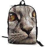 Cat Yellow Eyes Fur Head Close Up Mochila Escolar Personalizada Lunchbox Bag Set para Estudiantes y Adultos 16.5 X 12.5 X 5.5 Pulgadas