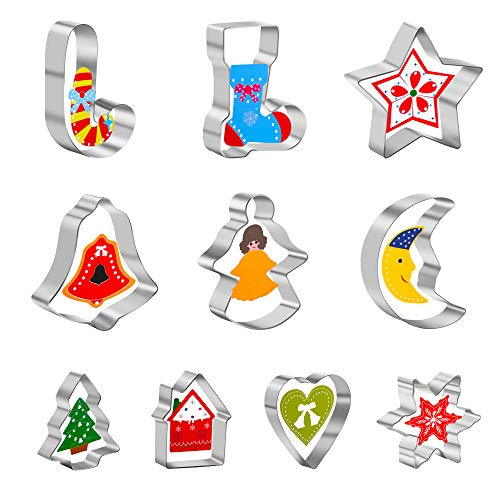 Christmas Cookie Cutters, 10 Pcs 2 Inches Stainless Steel for Xmas/Holiday/Party Supplies/Gifts-Snowflake, Bell, Christmas Tree, Star, Moon, Angle, Heart & More Cookie Cutters Christmas Shapes