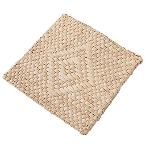 Qagazine - Cuscino per sedile in paglia naturale, realizzato a mano, traspirante, per auto, casa, veicolo, estate, 40/45 cm
