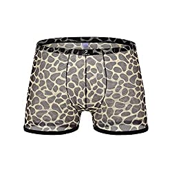 Leopard patterned see through boxer briefs.