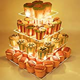 4 Tier Square Acrylic Cupcake Stand, Clear Cake Dessert Display Stand with LED String Lights, Wedding Party Tree Tower Stand