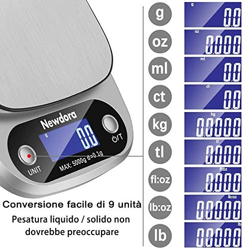 Newdora Bilancia da Cucina Smart Digitale con Funzione Tare,5kg/11 lbs Professionale Acciaio Inox Alta Precision Bilancia Elettronica per la Casa e la Cucina,Argento,(2 Batteries Incluse)