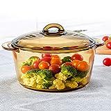 SMEJS Pote de Sopa de Vidrio 3L Transparente Doble Oreja Sopa Pote Guiso Hogar Sartén Tazón de Vidrio Resistente al Calor Suministros de Cocina