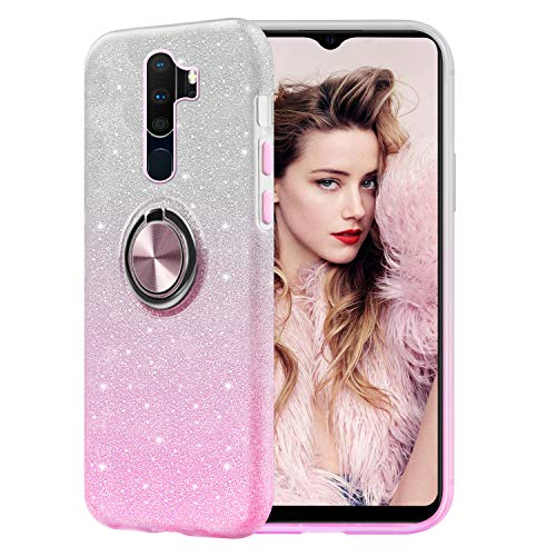 Glitter Cover Compatible with Oppo A9 2020/ A5 2020 case, Sparkly Bling Crystal Clear 3-in-1 Flexible Shiny Soft Silicone Camera Protection Case with Finger Ring Holder Kickstand - Pink Gradient